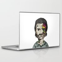 rick grimes Laptop & iPad Skins featuring Rick Grimes The Walking Dead zombie portrait by Raul Garderes