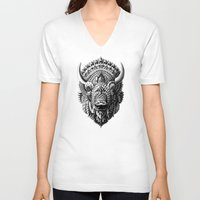 bioworkz V-neck T-shirts featuring Bison by BIOWORKZ