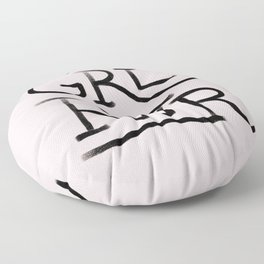 GRL PWR pink and black Floor Pillow