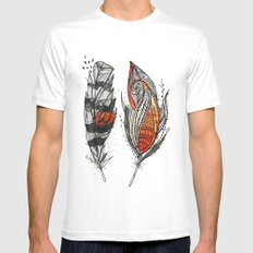 Sunset Feathers Mens Fitted Tee White MEDIUM