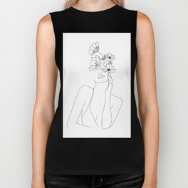 Minimal Line Art Woman with Flowers Biker Tank
