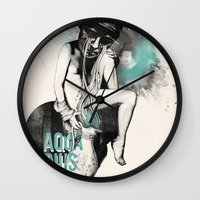 aquarius Wall Clocks featuring Aquarius by Carolina Espinosa