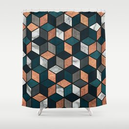 Copper, Marble and Concrete Cubes with Blue Shower Curtain