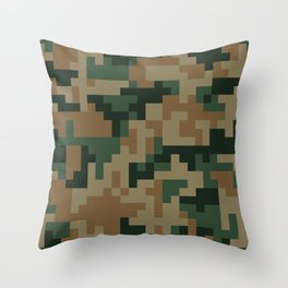 Green and Brown Pixel Camo pattern Throw Pillow
