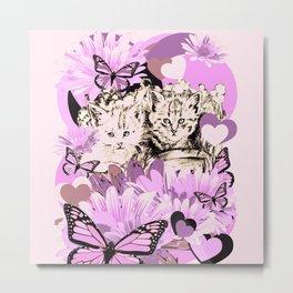 Frieda's Baby Cats in Pink Metal Print