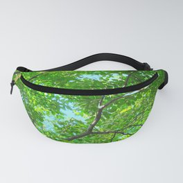 Canopy of Green, Leafy Branches with Blue Sky Fanny Pack