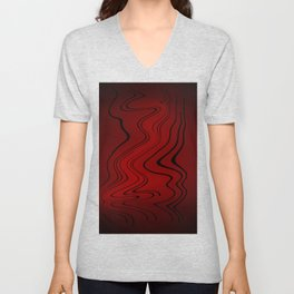 Abstract Design - Dark Red Waves Unisex V-Neck