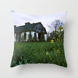 Dilapidated Farm and Mustard Seed Throw Pillow