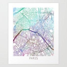 Paris City Map Watercolor Blue by zouzounioart Art Print