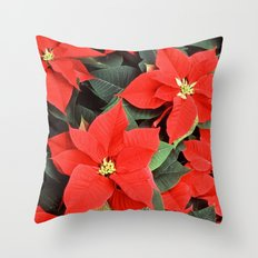 Beautiful Red Poinsettia Christmas Flowers Throw Pillow