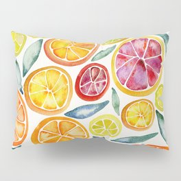 Sliced Citrus Watercolor Pillow Sham