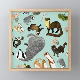 Mustelids from Spain pattern Framed Mini Art Print