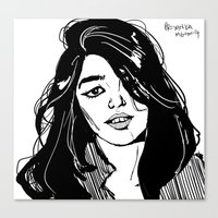 sky ferreira Canvas Prints featuring Sky Ferreira by Priyanka Menon
