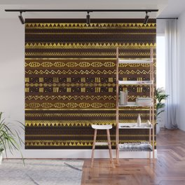 Ethnic African Golden Pattern on brown Wall Mural