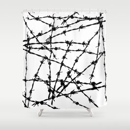Black and White Barbed Wire Shower Curtain