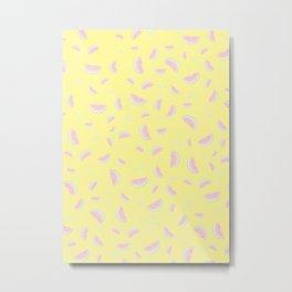 Watermelon, Pink, Yellow, Cute, Funny, Minimal, Pattern, Modern art Metal Print
