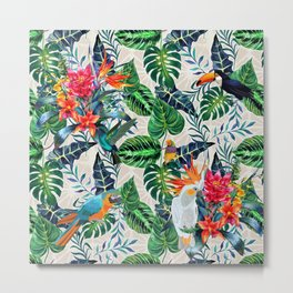 Tropical Pattern With Birds Print.Exotic Flowers And Palm Leaves Pattern.Colourful Print. Metal Print
