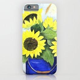 Watercolor sunflower bouquet in bucket iPhone Case