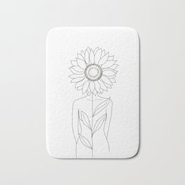 Minimalistic Line Art of Woman with Sunflower Bath Mat