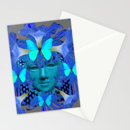 BLUE MORNING GLORIES BUTTERFLY MASQUERADE DESIGN Stationery Cards