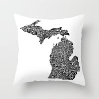michigan Throw Pillows featuring Typographic Michigan by CAPow!