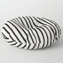 Vertical Black and White Watercolor Stripes Floor Pillow