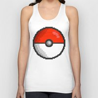 pokeball Tank Tops featuring Pixel Pokeball by EIDO