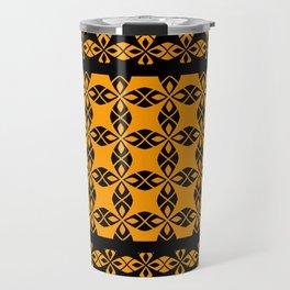 African Ethnic Pattern Black and Orange Travel Mug
