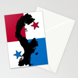 Panama Map with Panamanian Flag Stationery Cards