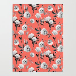 Peonies Mono Coral Poster