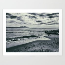 Dramatic view of the beach, the sea and the waves. Art Print