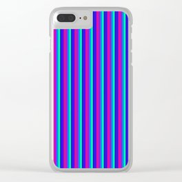 StRipES Pink Teal Blue Clear iPhone Case