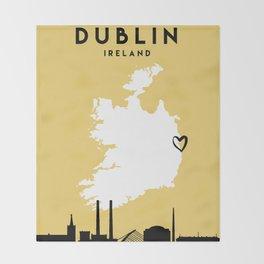 DUBLIN IRELAND LOVE CITY SILHOUETTE SKYLINE ART Throw Blanket