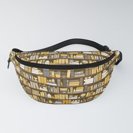 Book Case Pattern - Yellow Grey Fanny Pack