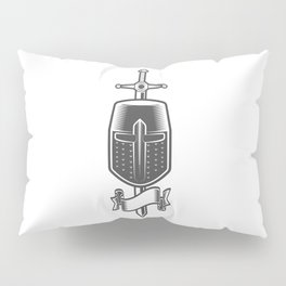Sword and Helmet of a Medieval Crusader Knight with Ribbon Pillow Sham
