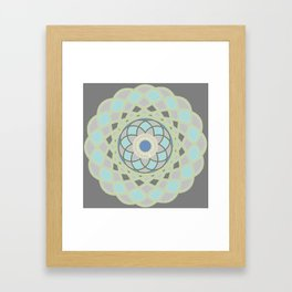 Spirograph Mandala 1 | Slate Grey Blue and Green Bohemian  Framed Art Print