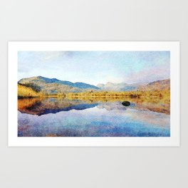Calm reflections on Derwentwater in the Lake District, Cumbria, UK. Watercolour Painting. Art Print