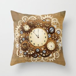 Steampunk Vintage Style Clocks and Gears Throw Pillow