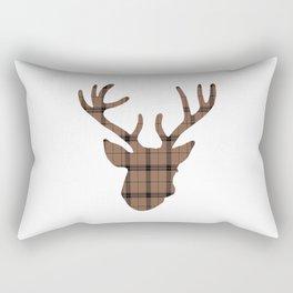 Plaid Deer Head: Dark Brown Rectangular Pillow