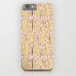 Ginger Root - Pink and Peach, Plant Pattern iPhone Case