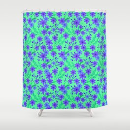 Beautiful girly spring purple flowers, delicate leaves floral fabric teal green feminine pattern Shower Curtain