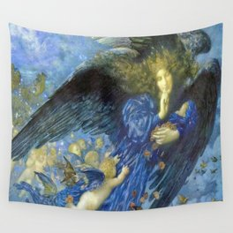 Night with her Train of Stars by Edward Robert Hughes Wall Tapestry