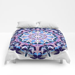 blue grey white pink purple mandala Comforters
