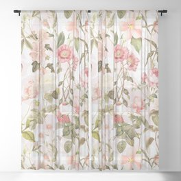 Vintage & Shabby Chic - Pink Sepia Summer Flowers Sheer Curtain