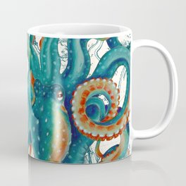 Teal Octopus Vintage Map Watercolor Coffee Mug