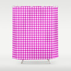 Friendly Houndstooth Pattern, Pink Shower Curtain