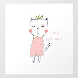 CAT CARTOON PRINCESS Art Print