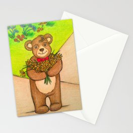 FLOWERS FOR YOU - Adorable Little Teddy Bear Flowers Floral Cute Colorful Original Illustration Stationery Cards