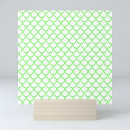 Scales (Light Green & White Pattern) Mini Art Print