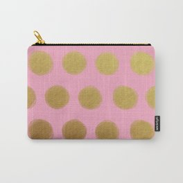 painted polka dots - pink and gold Carry-All Pouch